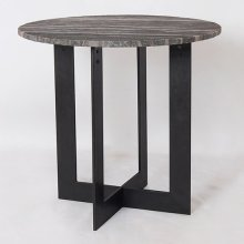 Bengal Manor Solid Iron Accent Table w/ Rough Grey Marble Top