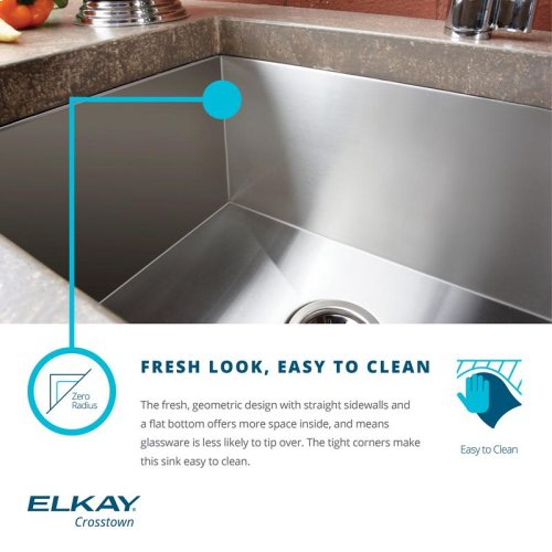 "Elkay Crosstown 16 Gauge Stainless Steel, 47-1/4"" x 18-1/2"" x 10"", 60/40 Double Bowl Undermount Sink with Drainboard"