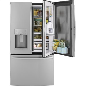 GE Profile™ Series 22.1 Cu. Ft. Counter-Depth French-Door Refrigerator with Door In Door and Hands-Free AutoFill - STAINLESS STEEL