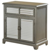 Two Drawer Two Door Cabinet with Shudder Design Mirrored Inserts