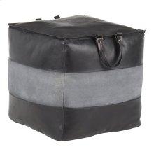 Cobbler Pouf - Black Leather, Grey Canvas