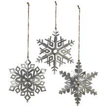 Oversized Dimensional Galvanized Snowflake Ornament. (3 pc. ppk.)