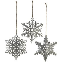 Oversized Dimensional Galvanized Snowflake Ornament. (3 pc. ppk.)
