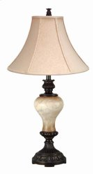 150W 3 way resin table lamp w/silk shade Product Image