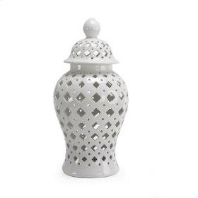 Tall Florentine White Vase 22H