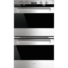 "76CM (30"") ""Classic"" Electric Multifunction Double Oven, Stainless Steel and Smart-Black-Glass"