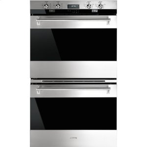 """Smeg76CM (30"""") """"Classic"""" Electric Multifunction Double Oven, Stainless Steel and Smart-Black-Glass"""