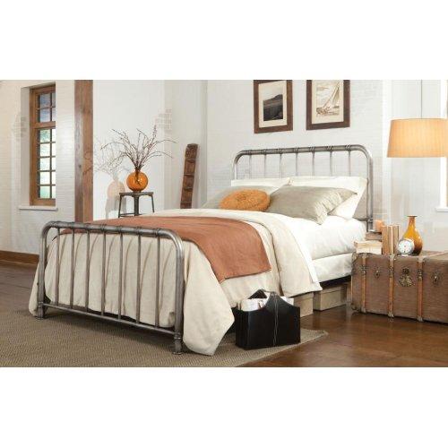 Metal Pewter Queen Bed