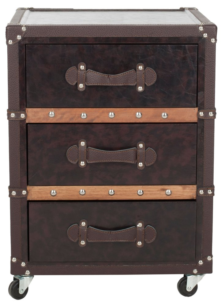 Norman 3 Drawer Rolling Chest / Black-brown - Black / Brown / Silver