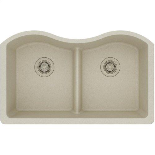"Elkay Quartz Classic 33"" x 20"" x 9-1/2"", Equal Double Bowl Undermount Sink with Aqua Divide, Bisque"