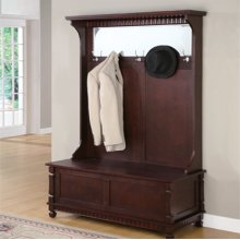 """Contemporary """"Merlot"""" Hall Tree with Storage Bench - overpacked"""