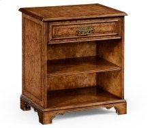 George II Style Burl Oak Beside Table for Drawer