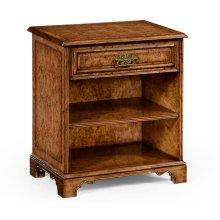 George II Style Burl Oak Beside Table with Drawer
