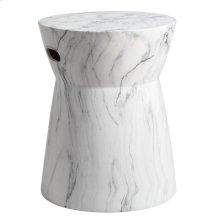 Balboa Marble Garden Stool - White / Black Marble