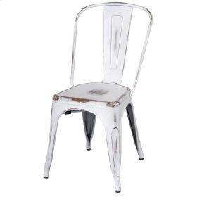 Metropolis Metal Side Chair, Distressed White