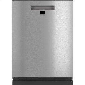CafeSmart Stainless Interior Built-In Dishwasher with Hidden Controls in Platinum Glass
