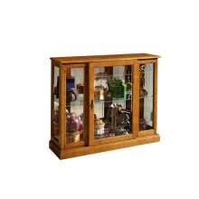 Lighted 1 Shelf Console Display Cabinet in Golden Oak Brown