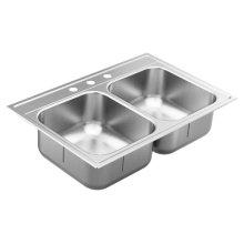 "1800 Series 33""x22"" stainless steel 18 gauge double bowl drop in sink"