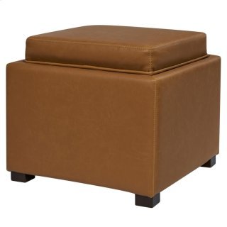 Cameron Square Bonded Leather Storage Ottoman w/ tray, Vintage Caramel