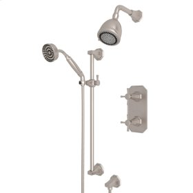 Satin Nickel Perrin & Rowe Deco Thermostatic Shower Package with Deco Cross Handle