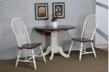 "Sunset Trading 3 Piece 42"" Round Drop Leaf Dining Set in Antique White with Chestnut with Napoleon Chairs"