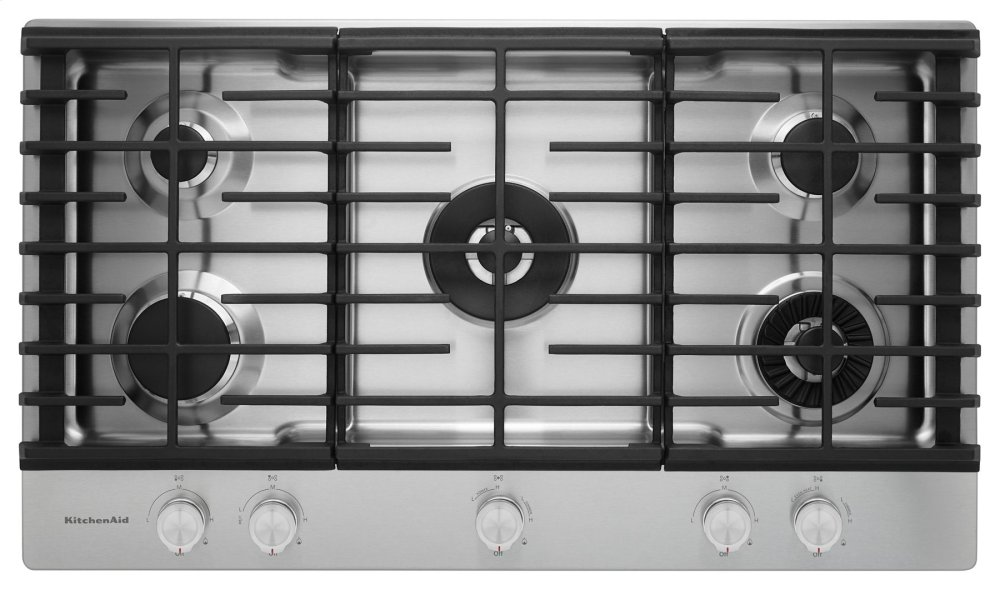 Kitchenaid 36u0027u0027 5 Burner Gas Cooktop With Griddle   Stainless Steel