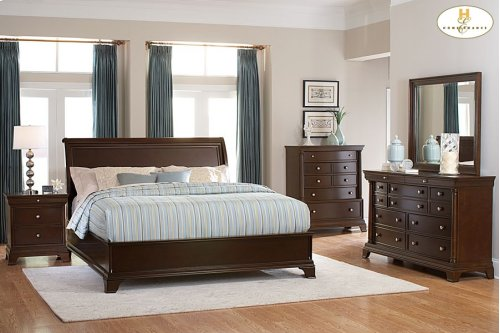 Eastern King Low Profile Sleigh Bed