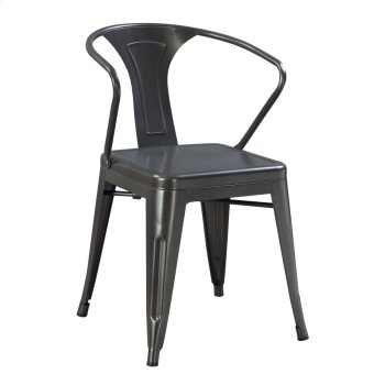 Dining Arm Chair-metal-gunmetal Finish Product Image