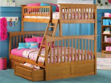 Columbia Bunk Bed Twin over Full with Raised Panel Bed Drawers in Caramel Latte