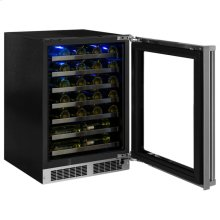 "24"" High Efficiency Single Zone Wine Cellar - Stainless Frame, Glass Door With Lock - Integrated Right Hinge, Professional Handle"