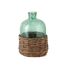 Rikard Small Green Glass Bottle with Bamboo