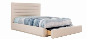 Casual Queen bed, wide base with front drawer