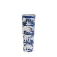 """Ceramic Vase 12"""", White/ Blue"""