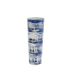 "Ceramic Vase 12"", White/ Blue"