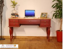 Two-tone Antique Desk w/Red Rubbed Finish