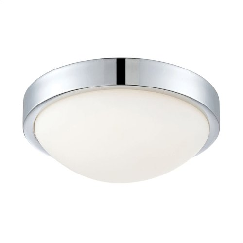 Sydney 1-Light Flush Mount in Chrome with White Opal Glass - Integrated LED