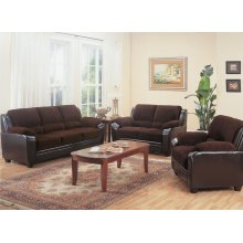 Monika Transitional Chocolate Three-piece Living Room Set
