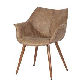 Agatha KD PU Arm Chair Metal Legs in Walnut, Suede Sanderling
