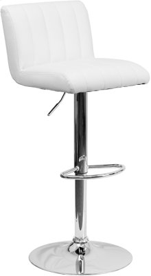 Contemporary White Vinyl Adjustable Height Barstool with Vertical Stitch Back\/Seat and Chrome Base