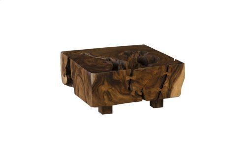 Chamcha Wood Thick Freeform Coffee Table, Square