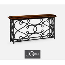 "72"" Width Rectangular Rustic Walnut Console with Wrought Iron Base"
