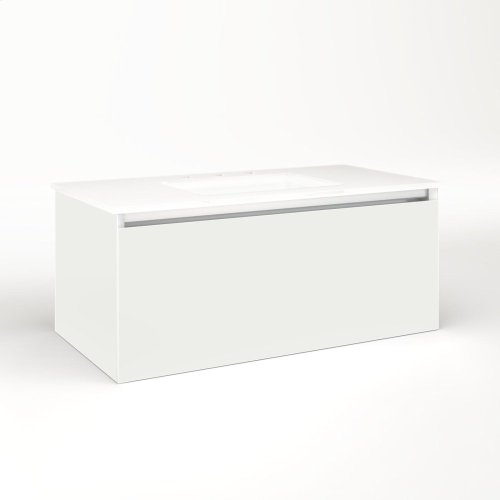 """Cartesian 36-1/8"""" X 15"""" X 18-3/4"""" Single Drawer Vanity In Beach With Slow-close Full Drawer and Night Light In 5000k Temperature (cool Light)"""