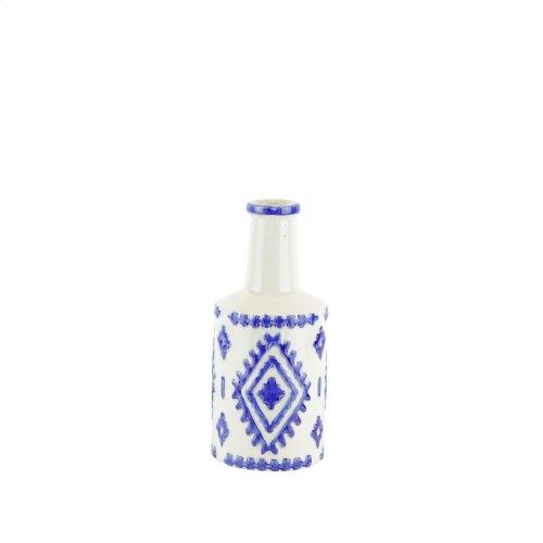 """Ceramic Bottle Vase, 10"""" White/blue"""