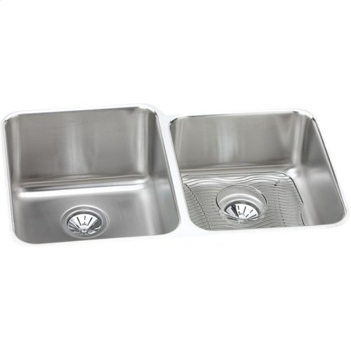 """Elkay Lustertone Classic Stainless Steel 31-1/4"""" x 20-1/2"""" x 9-7/8"""", Offset Double Bowl Undermount Sink Kit"""