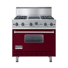 """Burgundy 36"""" Open Burner Commercial Depth Range - VGRC (36"""" wide, four burners 12"""" wide char-grill)"""