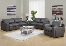 LOVE SEAT - CHARCOAL GREY BONDED LEATHER