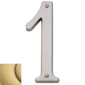 Satin Brass and Brown House Number - 1