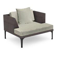 "42"" Outdoor Dark Grey Rattan Single Sofa Lounger, Upholstered in Standard Outdoor Fabric"