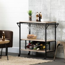 Bar Cart with Wine Bottle Storage and Wine Glass Rack - White Oak Barrel