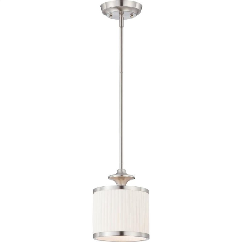 1 Light Mini Pendant Fixture In Brushed Nickel Finish With White Pleated Shade